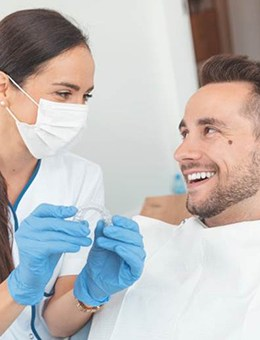 Woman during Invisalign consultation