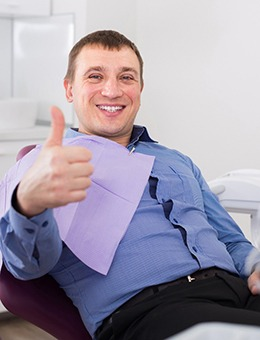 Man gives thumbs-up to his Murphy sedation dentist